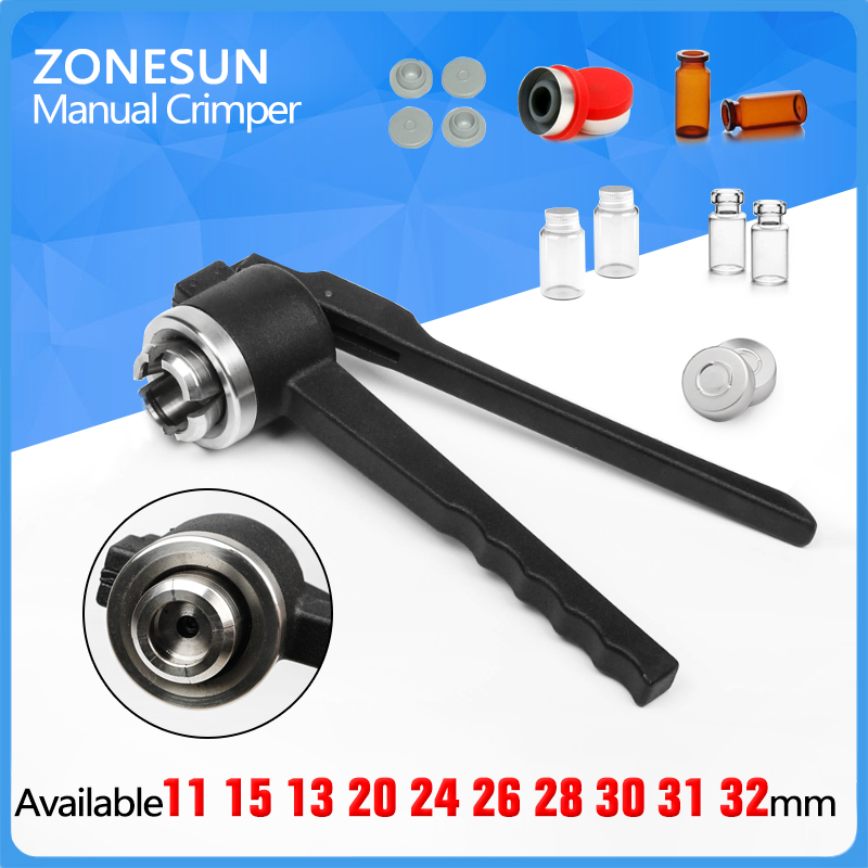 ZONESUN 31mm Stainless Steel decapper tool, manual Crimper / Capper / Vial WITH EMPTY UNSTERILE VIALS LIDS AND RUBBERS stainless steel cuticle removal shovel tool silver