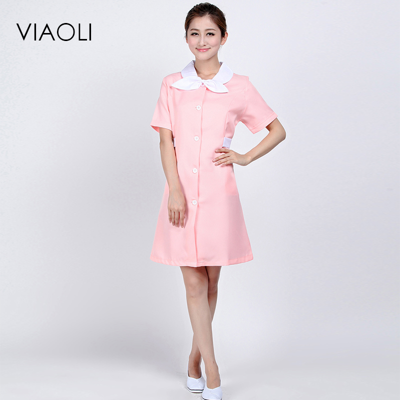 Viaol i2017 Medical uniforms nursing Clothes For Beauty Shop Short Sleeve Doctor Clothing uniformes hospital women Work dress
