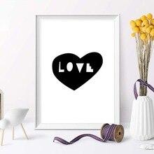 Minimalist Wall Decor Heart Love Canvas Prints Art Poster Love You Heart Canvas Painting Bedroom Romantic Wall Art недорого