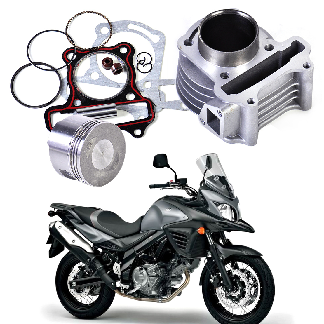 DWCX Nya 47mm Big Bore Kit Cylinder Piston Rings passar för GY6 50cc till 80cc 4 Stroke Scooter Moped ATV med 139QMB 139QMA motor