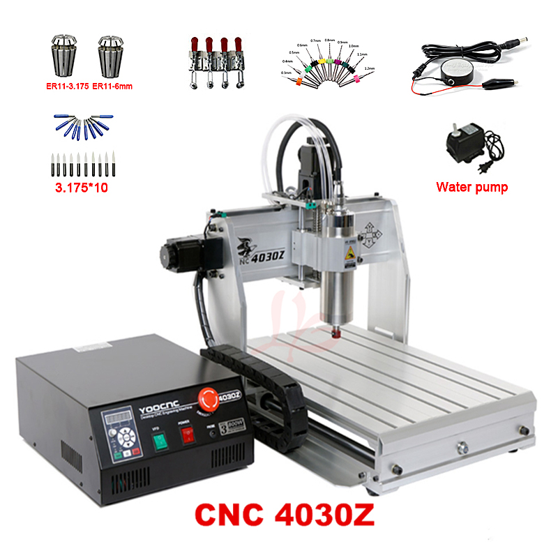 DIY CNC router machine 3040 3Axis 800W hobby woodworking lathe mach3 control for PCB Advertising Signs Artwork Crafts