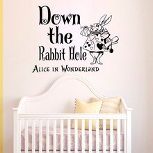 White Rabbit Pattern With Rabbit Hole Sayings Wall Stickers Home Kids Bedroom Art Decor Alice In Wonderland Vinyl Decal W-291 цена