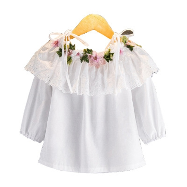 Children's clothing dress 2018 Autumn new girl flower embroidery long-sleeved white shirt tie strapless dress 3-8Y H80006