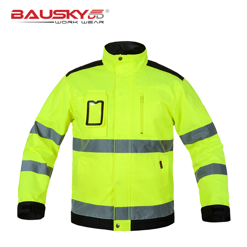 Bauskydd High quality Men outdoor multi-pockets reflective safety work jacket  construction  builder workwear   free shipping oumily reflective multi purpose paracord nylon rope cord reflective grey 30m 140kg
