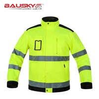 Chaqueta de trabajo de seguridad reflectante multi-bolsillos de alta calidad para hombre, de alta calidad, para la construcción, ropa de trabajo envío gratis