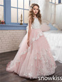 Princesa rubor rosa niña vestido de flores para la boda con apliques de encaje con cuentas espalda abierta niñas desfile vestidos de baile