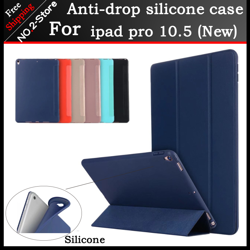 Case for iPad Pro 10.5 inch,PU Leather+Silicone Soft Back Smart Cover Case Coque Trifold Stand for iPad Pro 10.5 2017 soft silicone tpu translucent back cover for ipad mini 4 mini4 trifold stand smart auto on off premium pu leather slim fit case