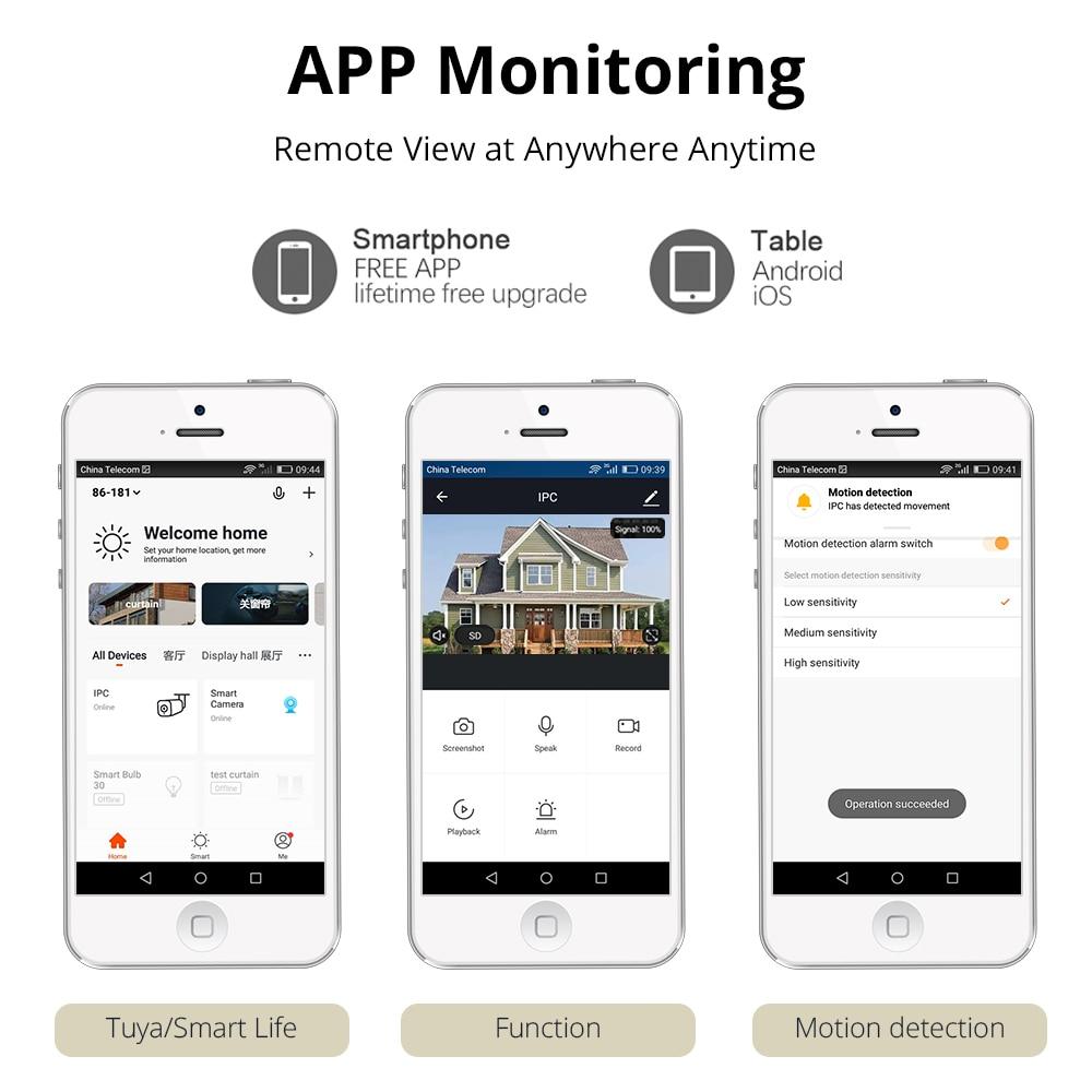 Tuya Wi-Fi камера видеонаблюдения, IP65 водонепроницаемая наружная камера, совместима с Alexa Echo Show, умный дом, охранная сигнализация