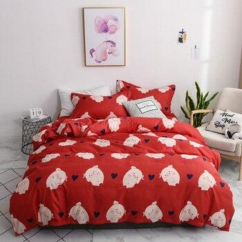 Современный Фламинго принтованные наборы постельных принадлежностей 3/4 шт. с изображением милой свинки пододеяльник набор queen King Стёганое ...