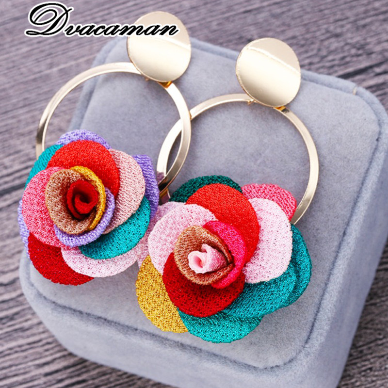 Dvacaman Drop-Earrings Cloth Fabric Rose-Flower Korean-Design Vintage Jewelry Fashion
