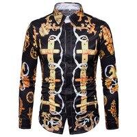 Hot Sale 3D Print Men Shirt Spring 2018 Plus Size Casual Social Shirts Mens Long Sleeve