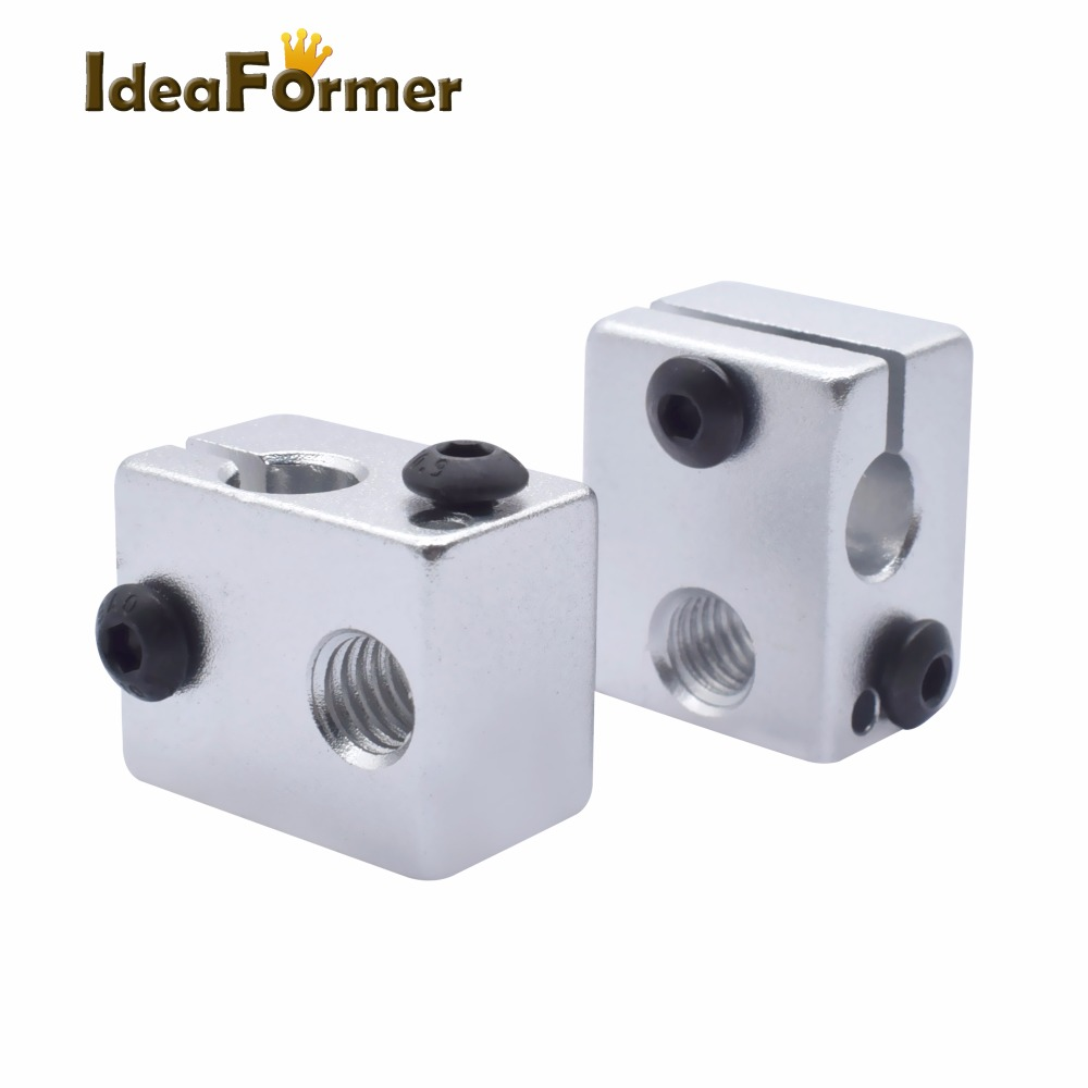 2pcs 3D printer Aluminium Heat Block V6 J-head RepRap MK7 or MK8 kossel and prusa i3 Extruder