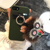 Luxury PU Leather Soft Silicone Cute 3D Owl Eye Patterned Cartoon Mobile Phone Housing For IPhone6
