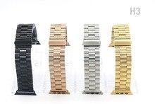 Pulseira de aço inoxidável para iwatch apple watch/esporte/edição 38mm 42mm Pulseira Banda Alça de Pulso com adaptador Preto Silve