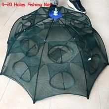 NEW Cheap Fishing Nets Shrimp Cage Nylon Foldable Crab Mesh Fish Trap Cast Net Cast Folding Fishing Network rede 4-20Holes