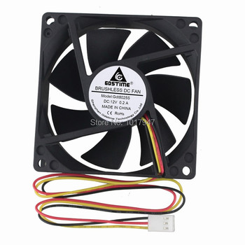 2 Pieces LOT Gdstime DC 12V 8cm 80mm 80x80x25mm 8025 3Pin PC Computer Brushless Case Cooling Fan 2 pieces lot computer pc case dc cooling fan 5 volt 35mm dupont connector