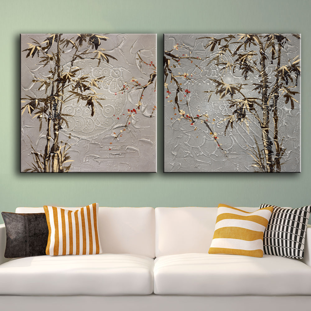 2piece Bamboo Modern Living Room Top Wall Picture For Home Decoration Idea Oil Painting Art Print