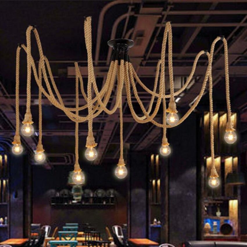 LOFT Vintage LED Pendelleuchte Hanf Seil Und Eisen Indoor Lampen Beleuchtung Wohnzimmer Esszimmer Lampe Restaurant Bar