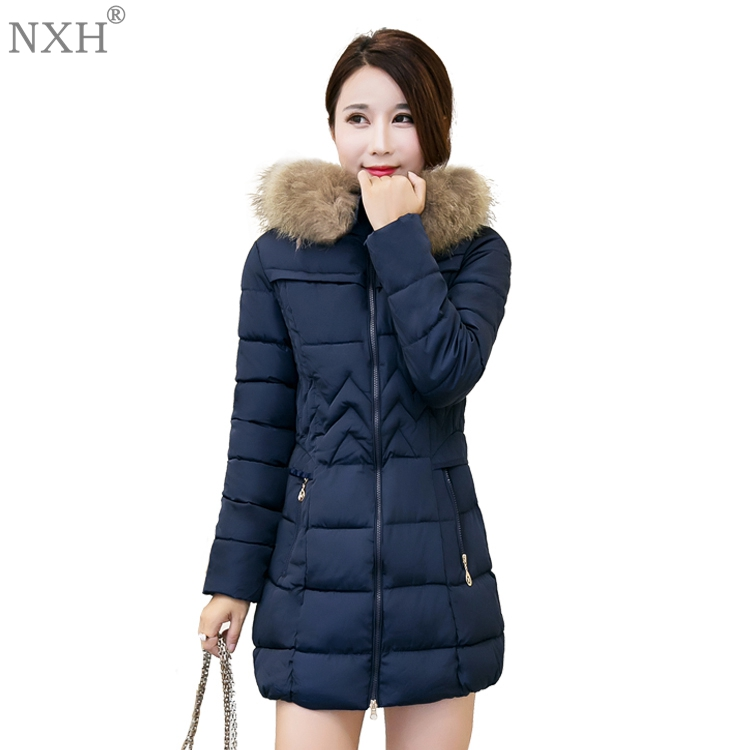 NXH 2017 New Arrival Womens cotton Coat Warm ladys Jackets Hooded with Fur Slim Winter Clothing Fashion Cute Top windbreaker charter club 2738 new womens white cotton henley top shirt petites ps bhfo