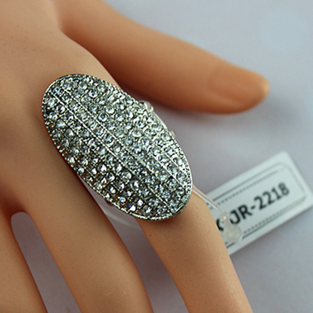 Large oval silver alloy ring exaggerated fashion jewelry The full set crystal women party ring new products free shipping SETS