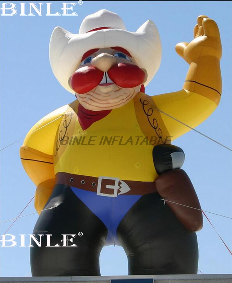 Customized 3.5mH giant funny character inflatable cowboy figure for party event parade decoration