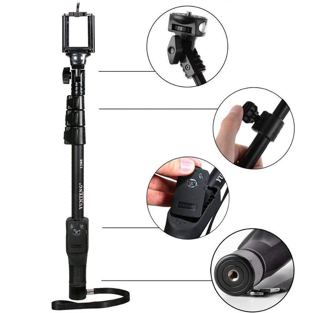 YunTeng YT 1288 selfie stick bluetooth 50 Handheld Monopod with Bluetooth Remote Control Shutter for Cell