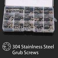 260Pcs M3 M4 M5 M6 304 Stainless Steel Metric Thread Grub Screws Flat Point Hexagon Socket