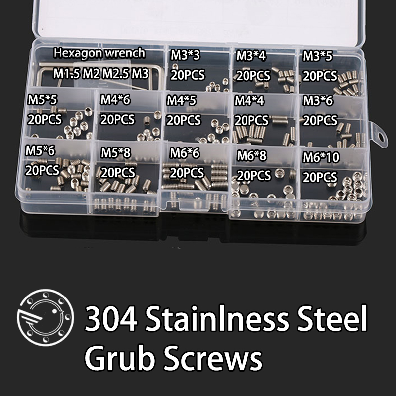 260Pcs M3 M4 M5 M6 304 Stainless Steel Metric Thread Grub Screws Flat Point Hexagon Socket Set Screws Headless Assortment Kit stanley 11pcs 3 8 metric 6 point 3 8 inch drive socket set with quick release composite offset ratchet 60 tooth oval head