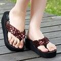 Женщины сандалии Летом комфорт Блесток пляж клин сандалии 2016 женская мода обувь