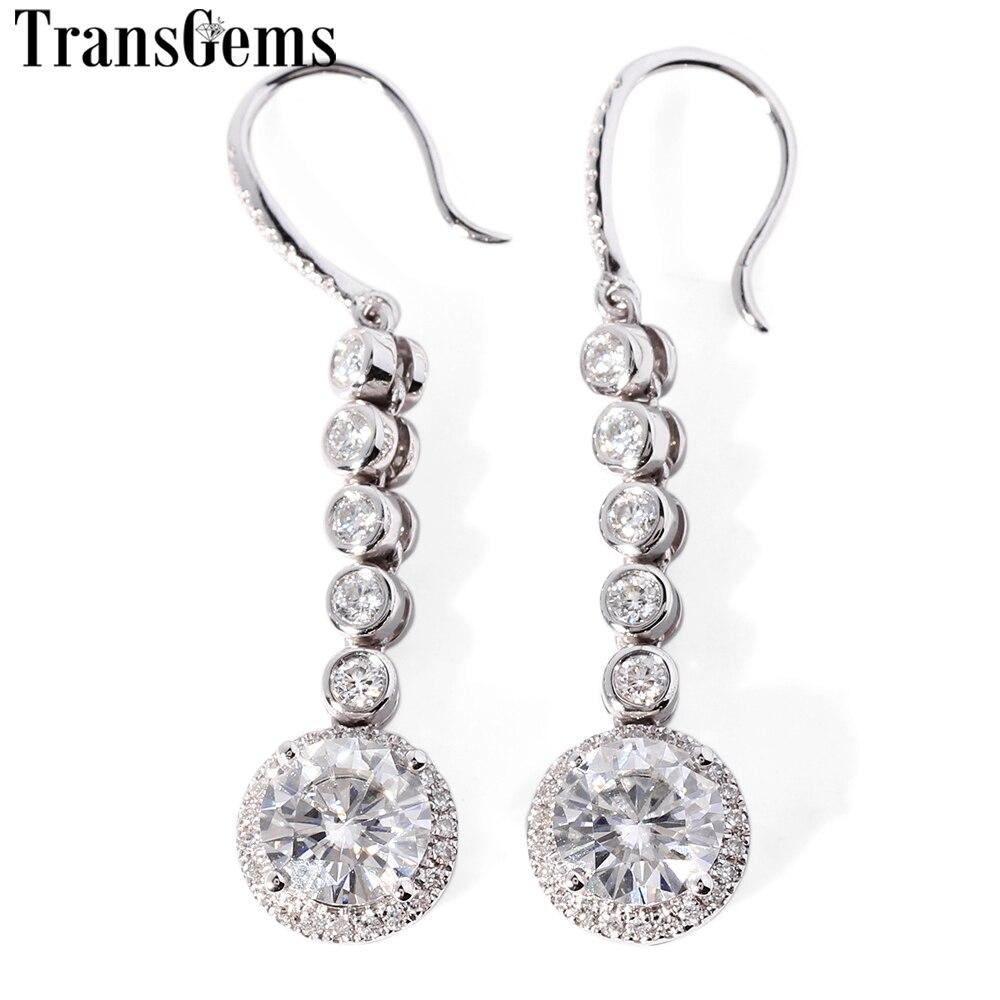 TransGems 18 Karat 750 Weißgold 2,8 CTW Center 1 ct 6,5 mm F Farbe Moissanite Halo Ohrringe für Frauen Hochzeit Engagement Geschenk