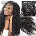Brasileño rizado rizado Clip en extensiones de cabello humano de la virgen del pelo del color Natural 1# 1b #2 # Clip en extensiones de cabello humano en Stock
