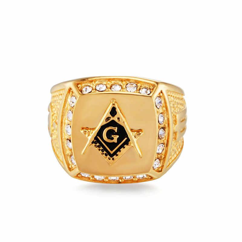 Vintage Freemason Masonic แหวน Cz คริสตัล FreeMason Signet แหวน Punk แหวนทองสำหรับผู้หญิง Punk เครื่องประดับ bague homme