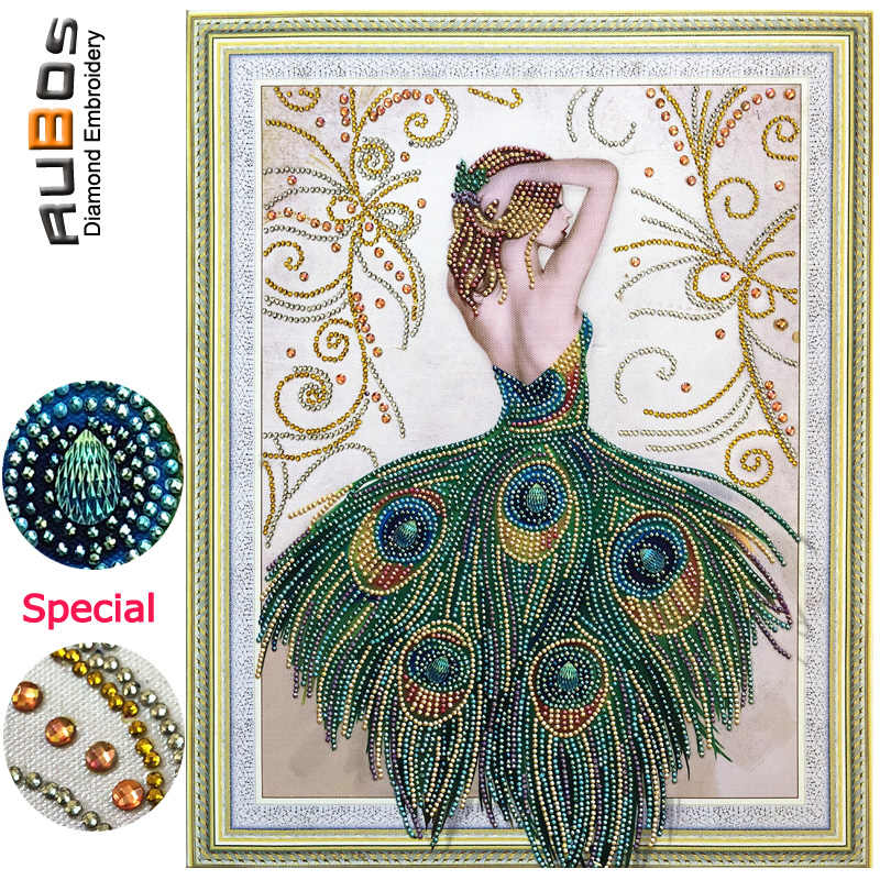 RUBOS DIY 5D Diamond Embroidery Beauty Peacock Girl Diamond Painting Mosaic Fantasy Sexy Back View Crystal Bead Glass Sale Decor