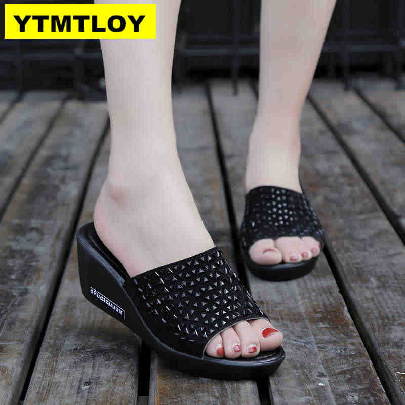 Nieuwe Mode Vrouwen Sandalen 2019 Lente Zomer Platform Sandaal Schoenen Vrouw Peep Toe Lederen Strand Casual Sandalias Mujer 6 CM