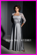 One Piece Silver Lace Satin Long Plus Size Mother of the Bride Dresses Gowns M383