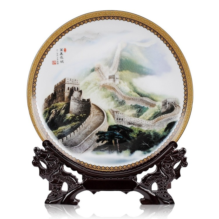 office home house TOP Decor art CHINA The Great Wall FENG SHUI porcelain plate BEST business