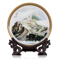 office home house TOP Decor art # CHINA The Great Wall FENG SHUI porcelain plate BEST business present