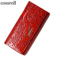 2016 Floral Pattern Women Wallets Leather Long Purse Luxury Brand Women Wallet Genuine Leather Ladies Coin