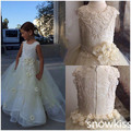 White/ivory long lace holy the first communion gown flower girl dresses appliques tiered tulle ball gowns for wedding party