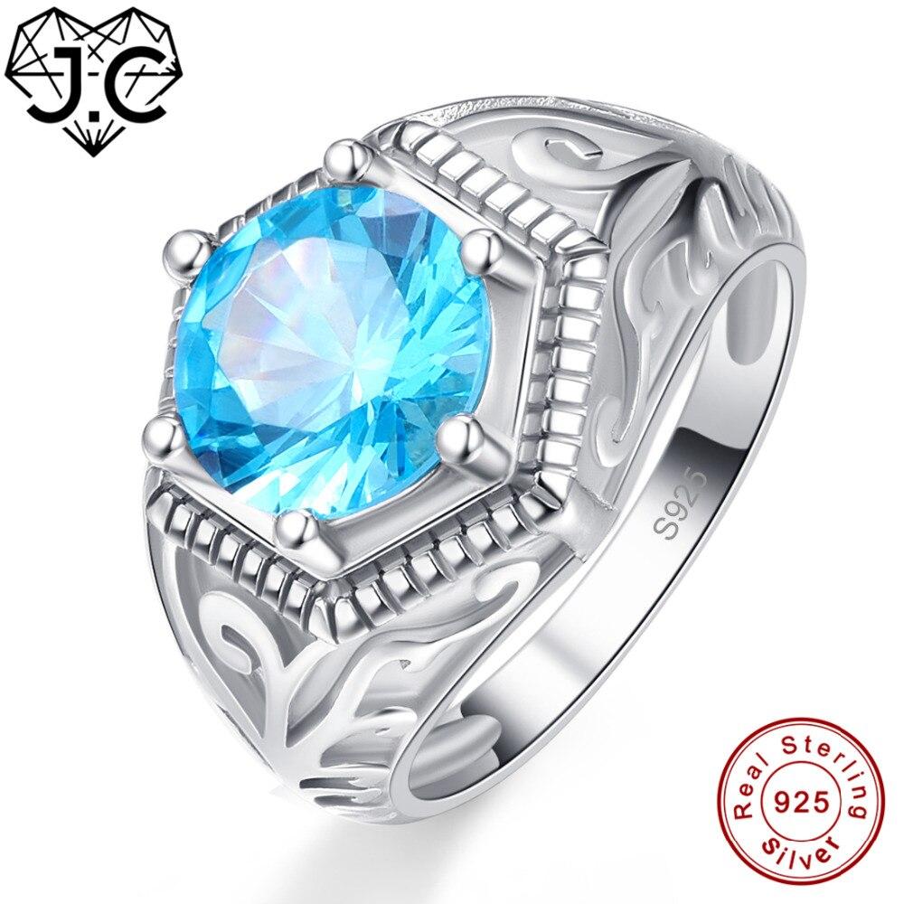 J.C alliance Band Solitaire Fine bijoux bleu topaze péridot solide 925 Sterling argent bague taille 6 7 8 9 pour femmes hommes fête cadeaux