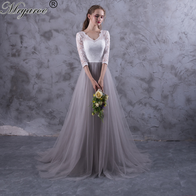 Mryarce two tone lace tulle grey wedding dresses v neck for Gray dresses to wear to a wedding