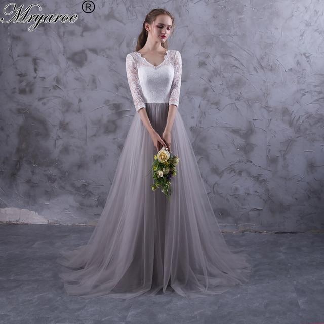 Mryarce Zwei Ton Spitze Tüll Grau Brautkleider V ausschnitt Lace ...