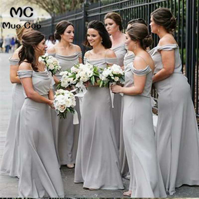 2018 A-Line Grey   Bridesmaid     Dresses   Spaghetti Straps Chiffon Formal Wedding Party   Dress   Mermaid Women   Bridesmaid     Dress