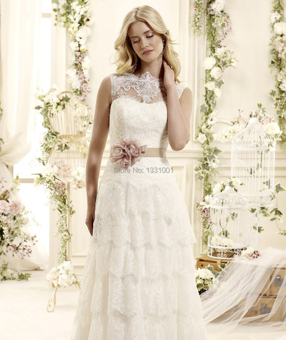 Vestido Romantic Lace Wedding Dress 2016 Long Country Western Bridal Dreses For Women Fashionable Party Gowns Made In China: Ruffled Country Wedding Dresses At Websimilar.org