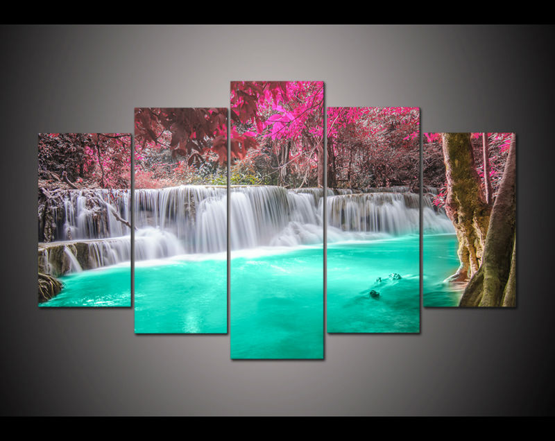 Omlijst Home Decor Canvas schilderkunst paars turquoise Schilderen ...