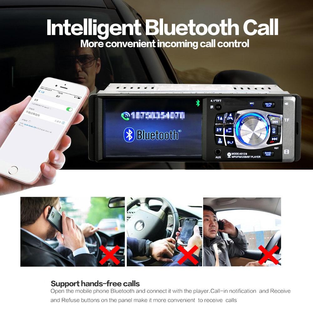 4.1 pouce 1 Din autoradio Auto Audio stéréo FM Radio Bluetooth 2.0 Support caméra de recul USB volant télécommande