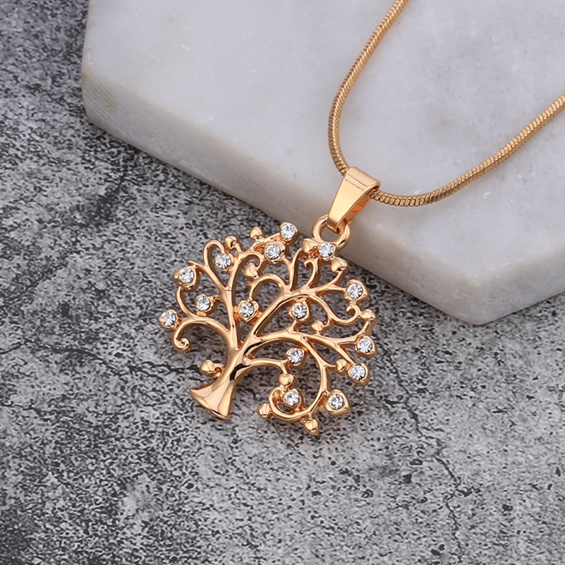 Fashion Czech Drilling Life Tree Pendant Charm Maxi Necklace Women Environmental Alloy Long Necklaces for Women Jewelry XL-0136 gold metal duvar saati