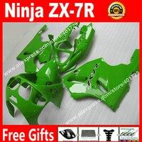 Fairings venda quentes para 1996-2003 da motocicleta Kawasaki Ninja ZX7R 96 97 98 99 00 01 02 03 brilhante verde carroçaria carenagem plásticos N