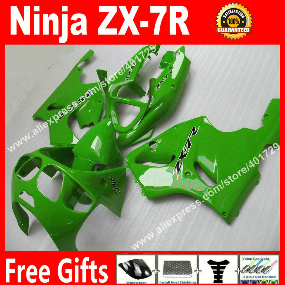 Hot sale Fairings for 1996-2003 motorcycle Kawasaki Ninja  ZX7R 96 97 98 99 00 01 02 03 glossy green bodywork fairing plastics N