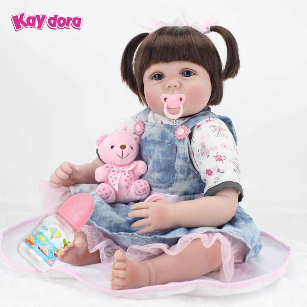 где купить KAYDORA 55cm Vinyl Silicone Reborn Baby Dolls Realistic Reborn Babies Lifelike Princess Girl Toys Bebe Reborn Babies 22 inch дешево